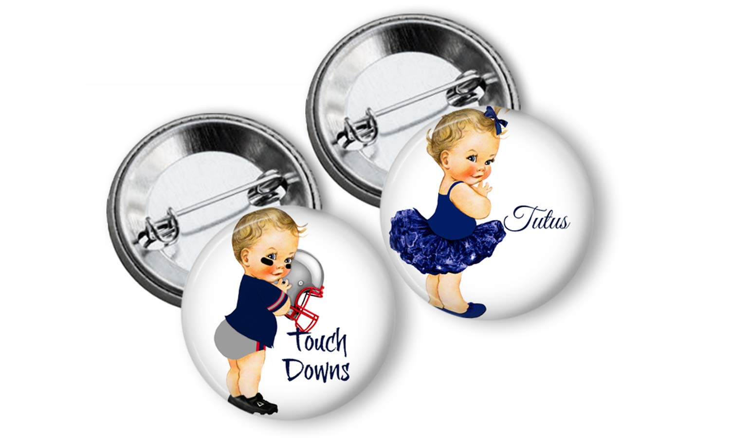 Touchdowns or Tutus Gender Reveal Party Favors Pins Buttons Pin backs set of 24