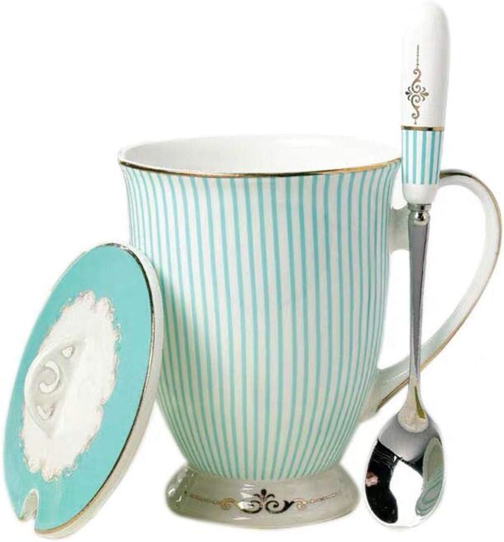 YBK Tech Euro Style Art Bone China Ceramic Tea Cup Coffee Mug for Breakfast Home Kitchen Blue Blue Stripe Pattern