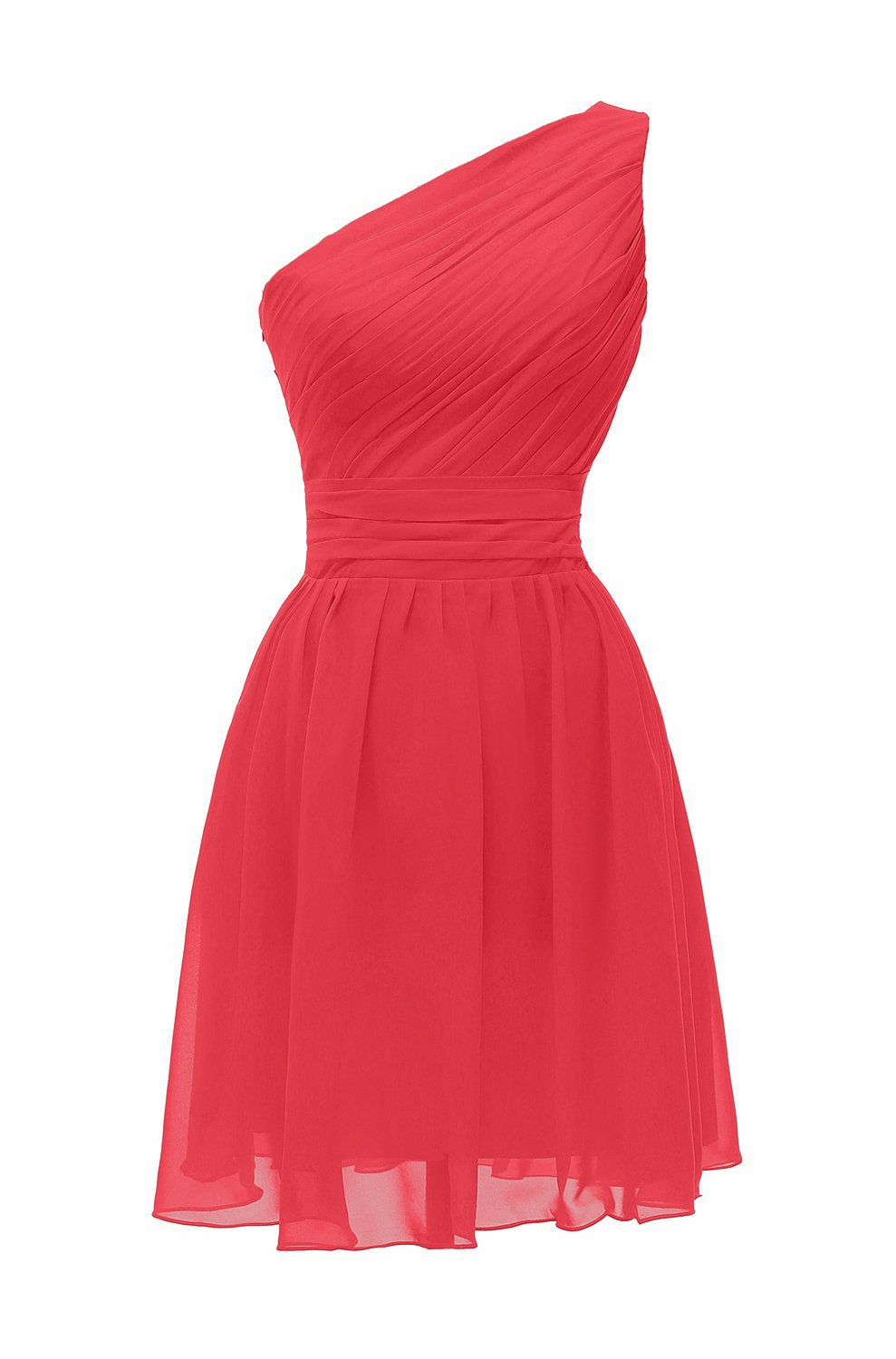 ThaliaDress Short One Shoulder Bridesmaid Evening Dresses Prom Gowns T195LF Coral US16