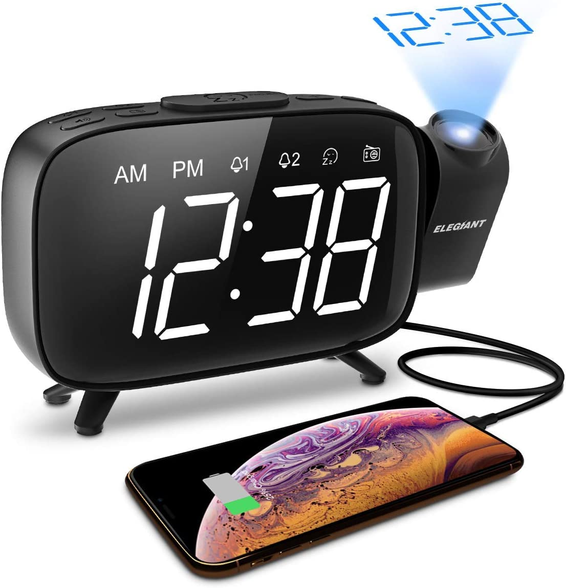 ELEGIANT Projection Alarm Clock, FM Radio Alarm Clock, 6.0 LED Curved-Screen Display with Dimmer 180 Adjustable Dual Alarm, 12 24Hour, Battery Backup, 7 Alarm Sounds with USB Charger for Bedroom