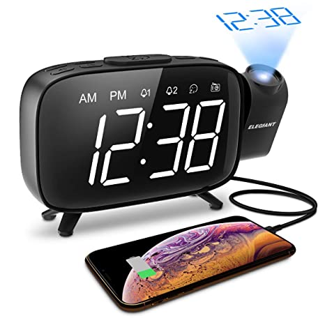 ELEGIANT Projection Alarm Clock, FM Radio Alarm Clock, 6.0 LED Curved-Screen Display with Dimmer 180° Adjustable Dual Alarm, 12/24Hour, Battery ...