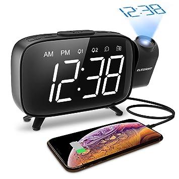 ELEGIANT Reloj Despertador Digital Proyector con FM Radio, Brillo ...