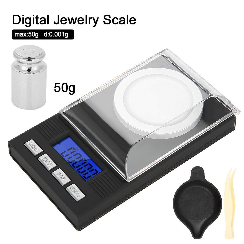 Semme Digital Milligram Pantalla Digital LED 10g B/áscula de joyer/ía Escala de joyer/ía de Bolsillo de 0,001 g con Pinzas de Calibre y sartenes de pesaje Mini port/átil de Alta precisi/ón