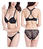 Lace Lingerie Set Padded Front Closure Push up Bra w/ Lace Panty