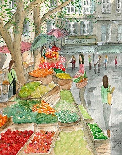 Farmer's Market Artwork, French City Scene Art, Paris Street Scene Art Print, European Art Print, Whimsical French Art entitled