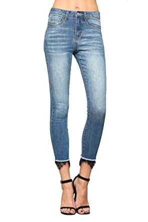 53755111eb8 Vervet Jeans By Flying Monkey High Rise Crop Skinny with Laced Hem ...
