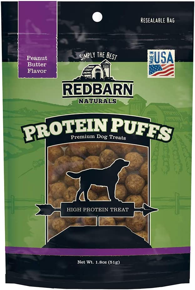 Redbarn Protein Puffs for Dogs | A Human-Grade High-Protein Training Treat or Food Topper | Made in The USA (Peanut Butter, Pack of 3)