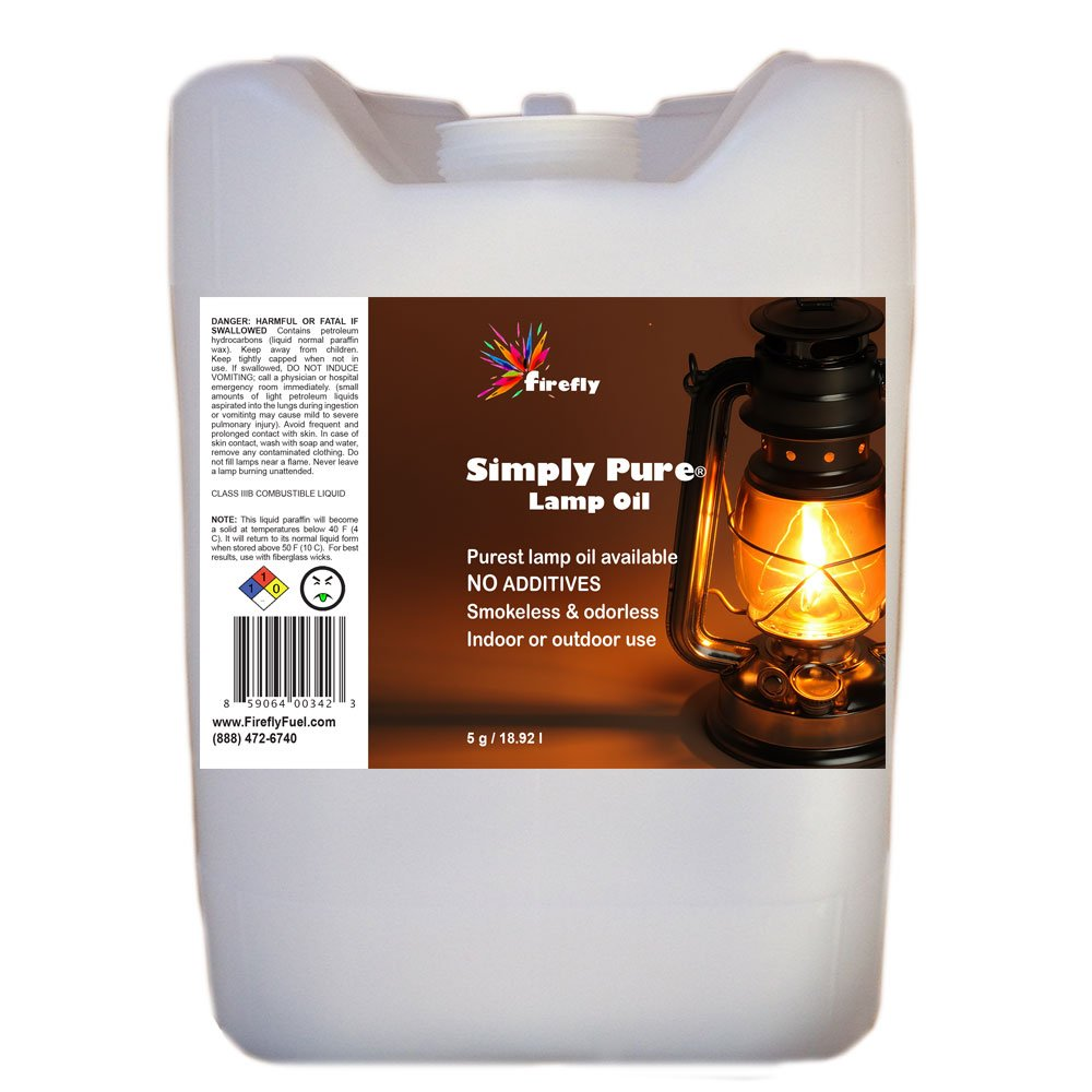 Bulk Lamp Oil by Firefly - 5 Gallons - Odorless & Smokeless - Simply Pure - Ultra Clean Burning Liquid Paraffin Fuel by Firefly
