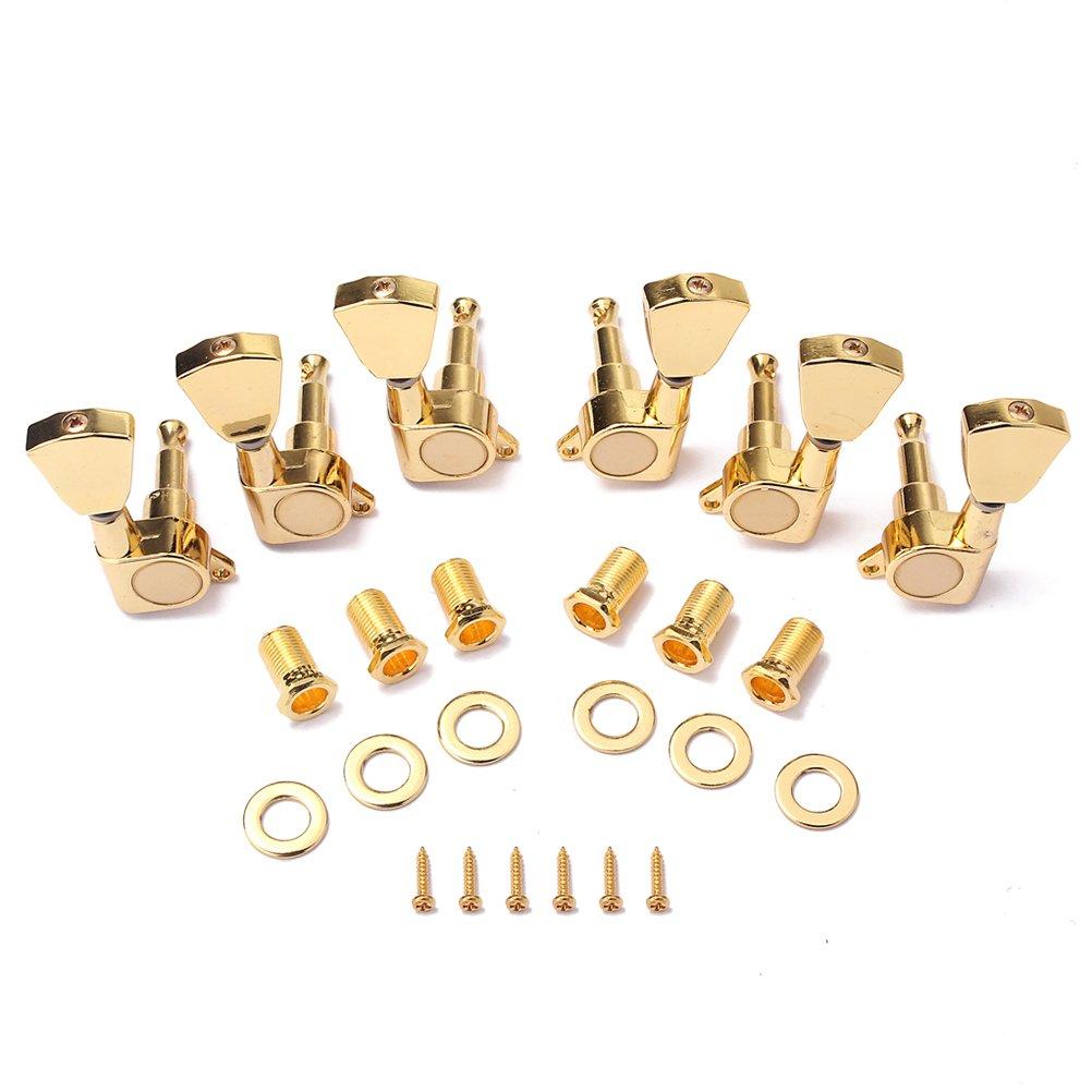 ROSENICE Afinación de Guitarra Clavijas Claves Sintonizadores Cabezales de Máquina para Guitarra acústica Eléctrica 6 piezas(dorado) 33S7LLU9816P5000WVIJG2HD