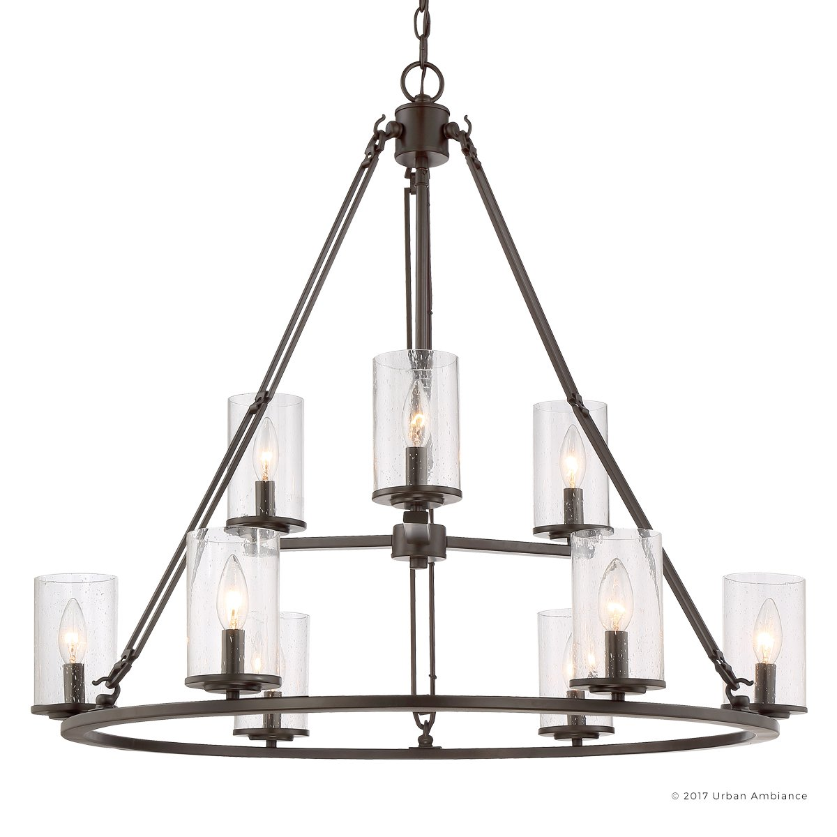 Luxury Industrial Chandelier, Large Size: 30''H x 33''W, with Western Style Elements, Rectangular Link Design, Elegant Estate Bronze Finish and Seeded Glass, UQL2131 by Urban Ambiance
