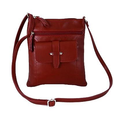 Echtes Leder Umhängetasche Mit 2 Frontalen Fächern Farbe Blau - Italienische Lederwaren - Damentasche Dream Leather Bags Made in Italy A8NdYY