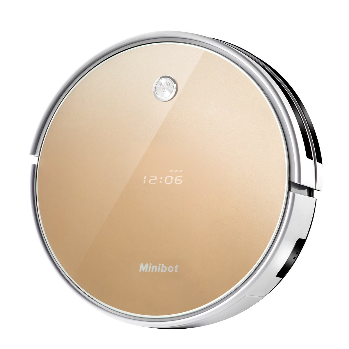Minibot X5 Robot Vacuum Cleaner For Hard Floors Thin Carpets Tile Rugs And Pet Hairs With High Suntion Wet Mop Water Tank Gold