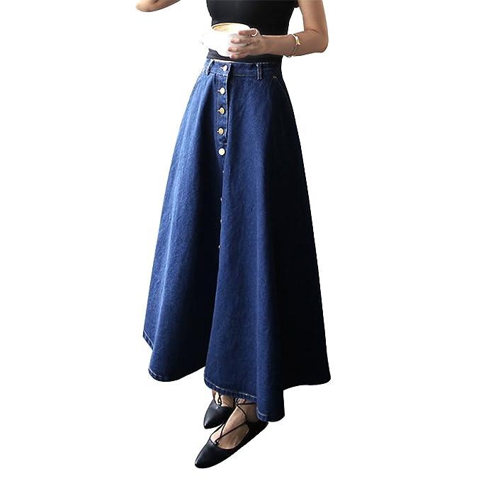 LUOEM Vestido largo de mezclilla Falda paraguas grande Vestido de mujer Faldas de vestidos de mezclilla