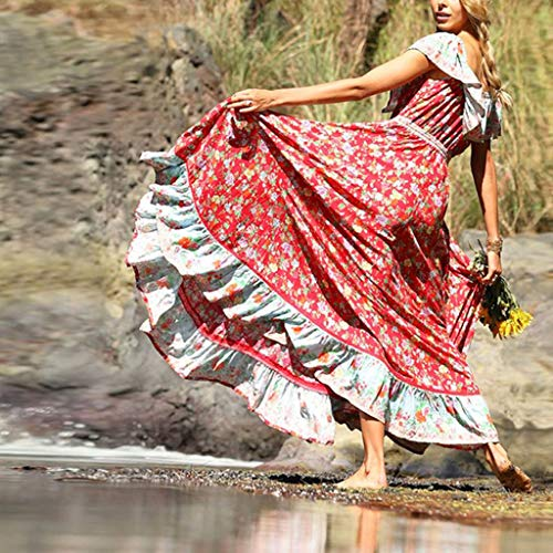 Women Dresses For Special Occasions Sexy Cocktail,Women's Summer Bohemian Printed Waist V-Collar Chiffon Beach Long Dresses by SUNSEE WOMEN'S CLOTHES PROMOTION (Image #3)