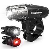 Hoicmoic Fahrradlicht USB Wiederaufladbare Fahrradbeleuchtung Fahrradlampen Set Fahrradfrontlicht mit 2 Fahrrad Rücklichter, Spritzwassergeschützt und Super hell für sicheres Radfahren