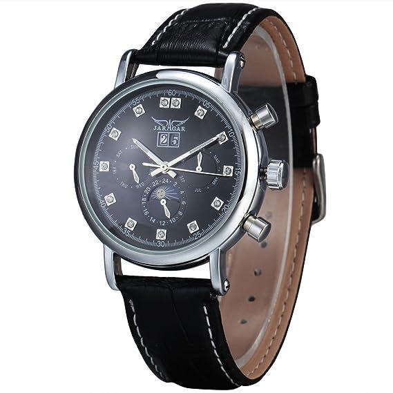 JARAGAR de los hombres 6 Manos automático del volante mecánico Moonshape reloj de cuarzo reloj de