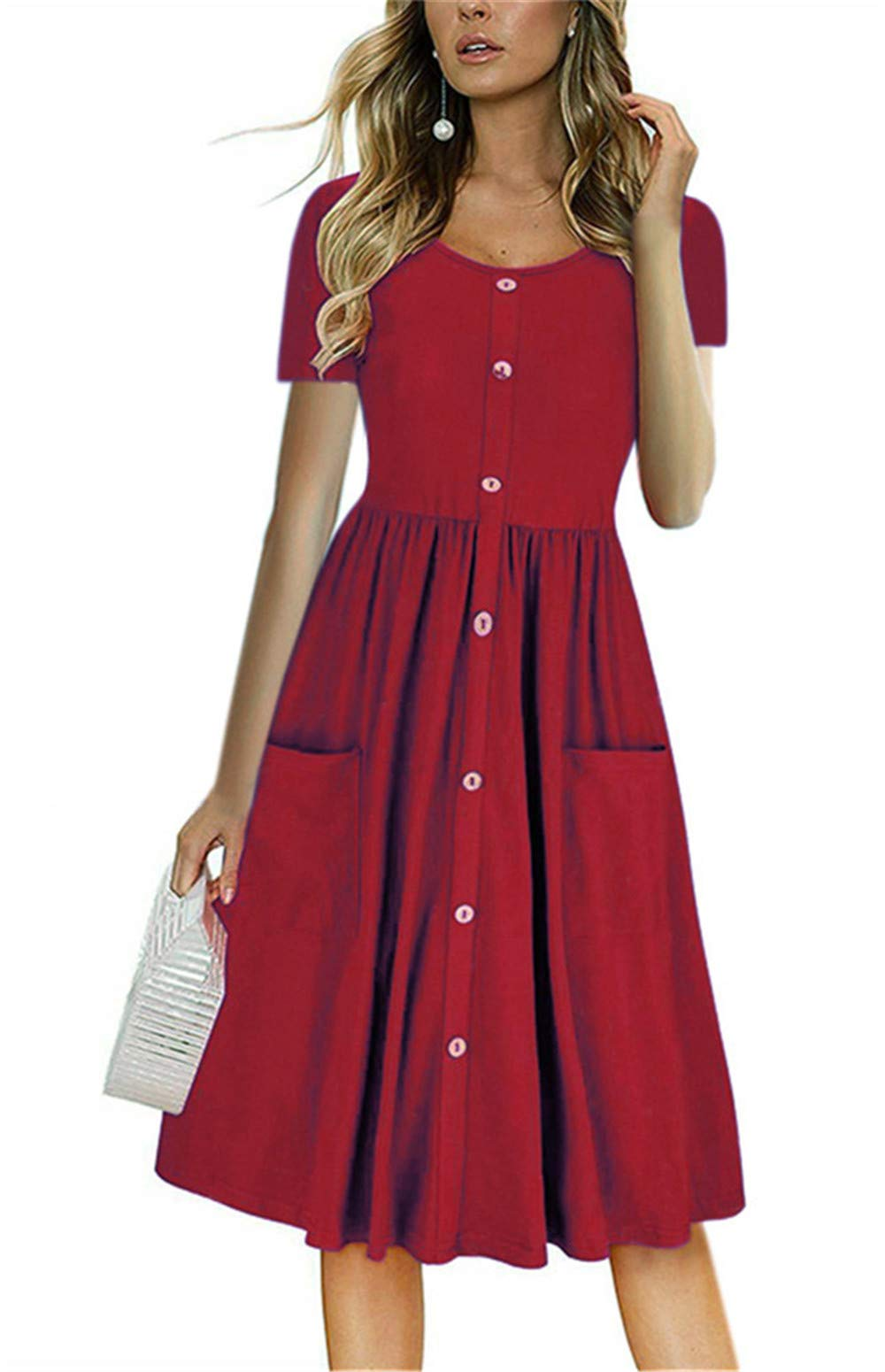 LAMISSCHE Womens Summer Casual Short Sleeve V Neck Button Down A-line Dress with Pockets(Wine Red,M) by LAMISSCHE