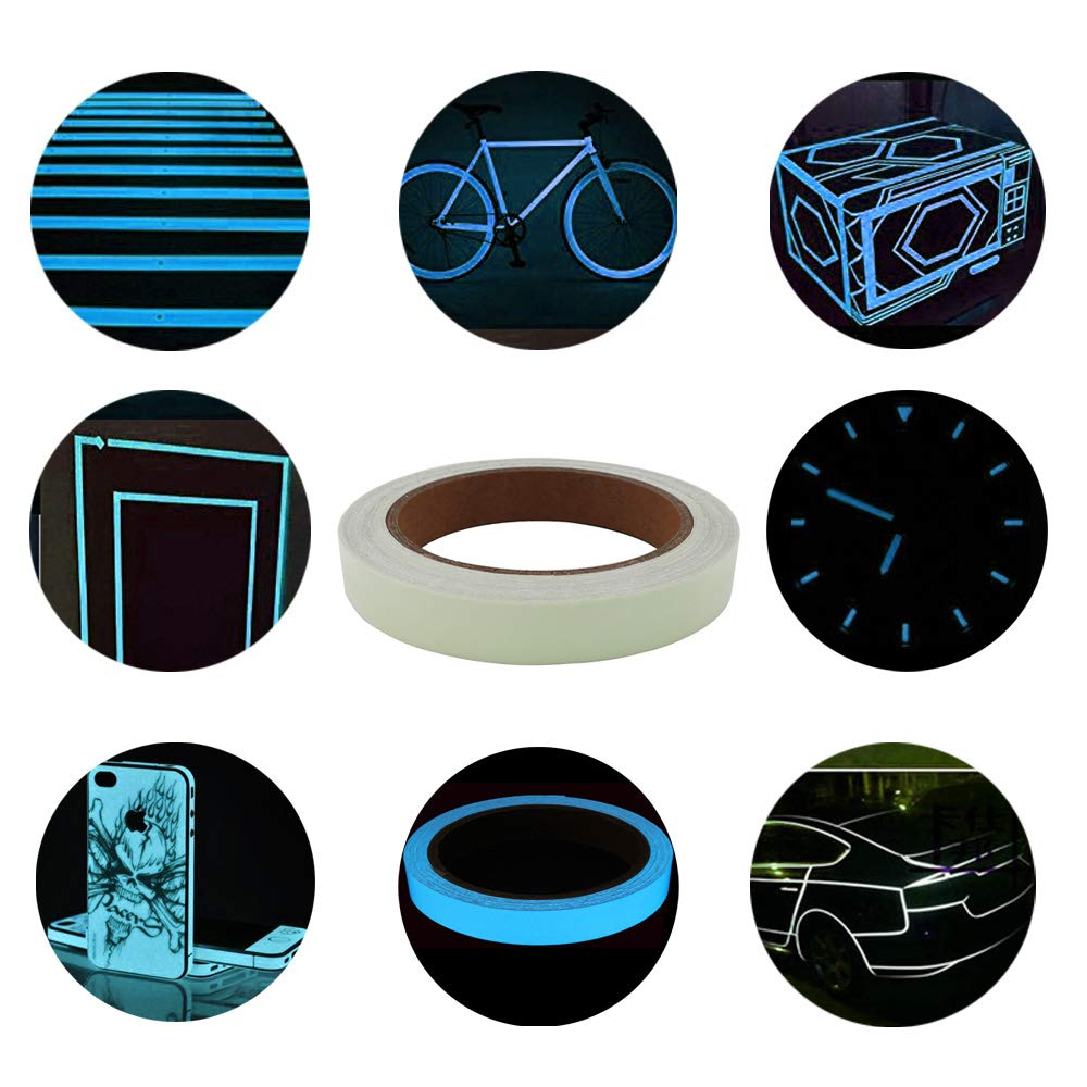 Glow In The Dark Warnband Selbstklebendem Band Wasserdicht Langlebig Stabil Sicherheit Luminous Tape Tragbar Gebildet 2 st/ücke 1cm x 10m Leuchtendes Band Abnehmbar Gr/ün + Himmelblau