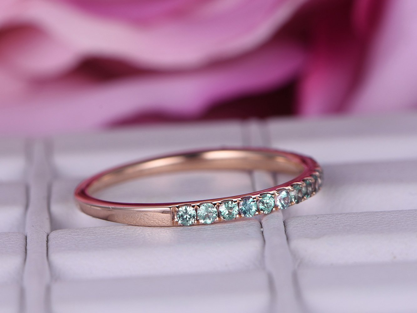 Green Alexandrite Wedding Band Half Eternity Anniversary Ring 14K Rose Gold