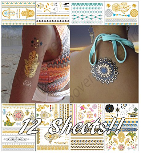 12 Sheets Metallic Temporary Tattoos for Women Teens Girls - Fake Flash Stickers Gold Silver Temporary Tattoos Tattoo Designs Jewelry Tattoos - 150+ Color Waterproof Tattoo Stickers (Native Indian Makeup)
