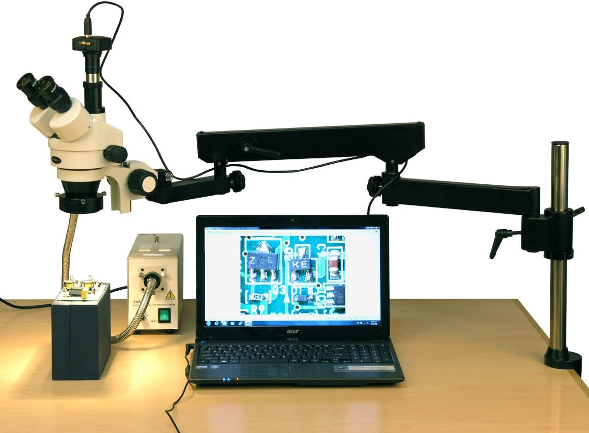 AmScope SM-8TZZ-FOR-10M Digital Professional Trinocular Stereo Zoom Microscope Fiber-Optic Ring Light 110V-240V Articulating-Arm Boom Stand 0.7X-4.5X Zoom Objective Includes 0.5x and 2.0x Barlow Lens 3.5X-180X Magnification WH10x and WH20x Eyepieces