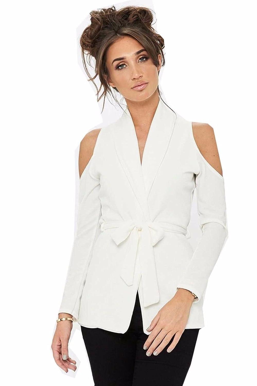 Womens Ladies Cold Shoulder Long Sleeves  Belted Blazer Jacket Coat Top 8-14