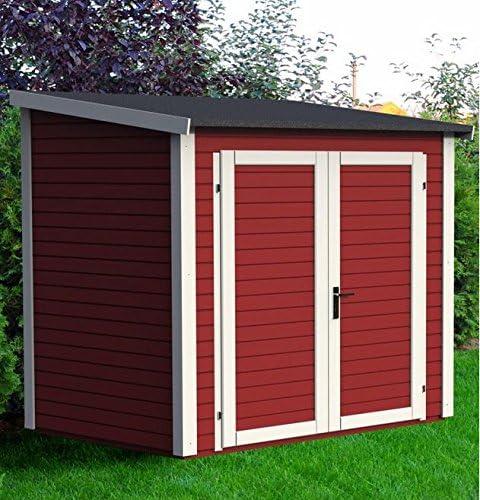Caseta de jardín (madera maciza 3.16 metros cuadrados – 19 mm skur 3 rojo – Baltic: Amazon.es: Jardín