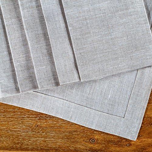 "Linen Dinner Napkins – Set of 6 100% Grey Pure European Flax Natural Gray Square Kitchen Napkins – Perfect 18"" x 18"" Size – Classy Cloth Dinner Napkins for Restaurants, Birthdays, Wedding Table Decor"