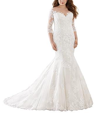 Yilisclothing Illusion Neckline Lace Mermaid Wedding Dresses Long