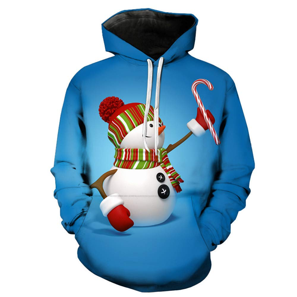 BaZhaHei Men's Christmas 3D Print Long Sleeve Sweater Top Hooded Sweatershirt Top Blouse Winter Outfits Large Size Hoodies