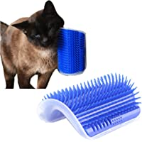 Cat Catnip Toy Cat Corner Groomer Massage Brush for Cats with Long & Short Fur (Blue)