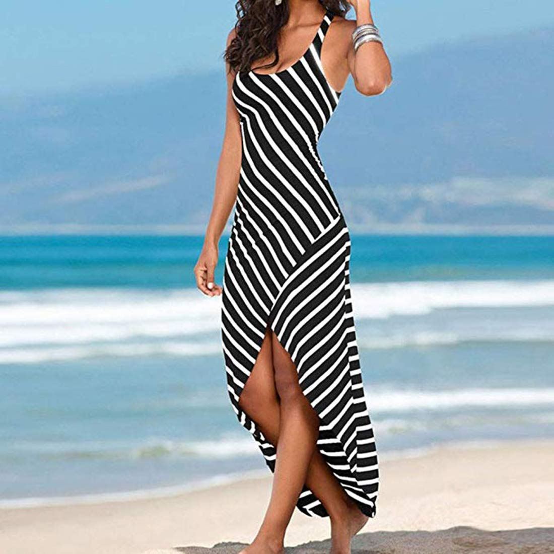 WESIDOM Maxi Dress for Women,Striped Sexy Sleeveless O-Neck Ankle-Length Casual Sundress, Party Long Dresses for Women Black by WESIDOM (Image #3)