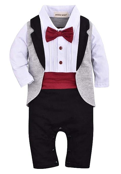 998d3db80c5d ZOEREA 1pcs Baby Boys Tuxedo Onesie Romper Jumpsuit Wedding Suit ...