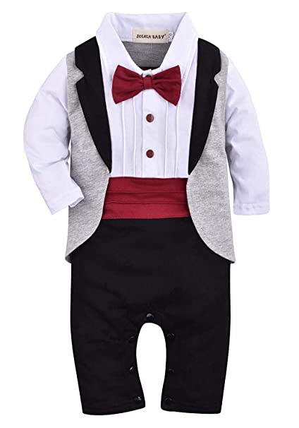 fbebe6f12d9b1 ZOEREA Baby Boys Tuxedo Outfits Gentleman Romper Jumpsuit with Bow Tie  Wedding Suit 3-18 Months  Amazon.co.uk  Clothing