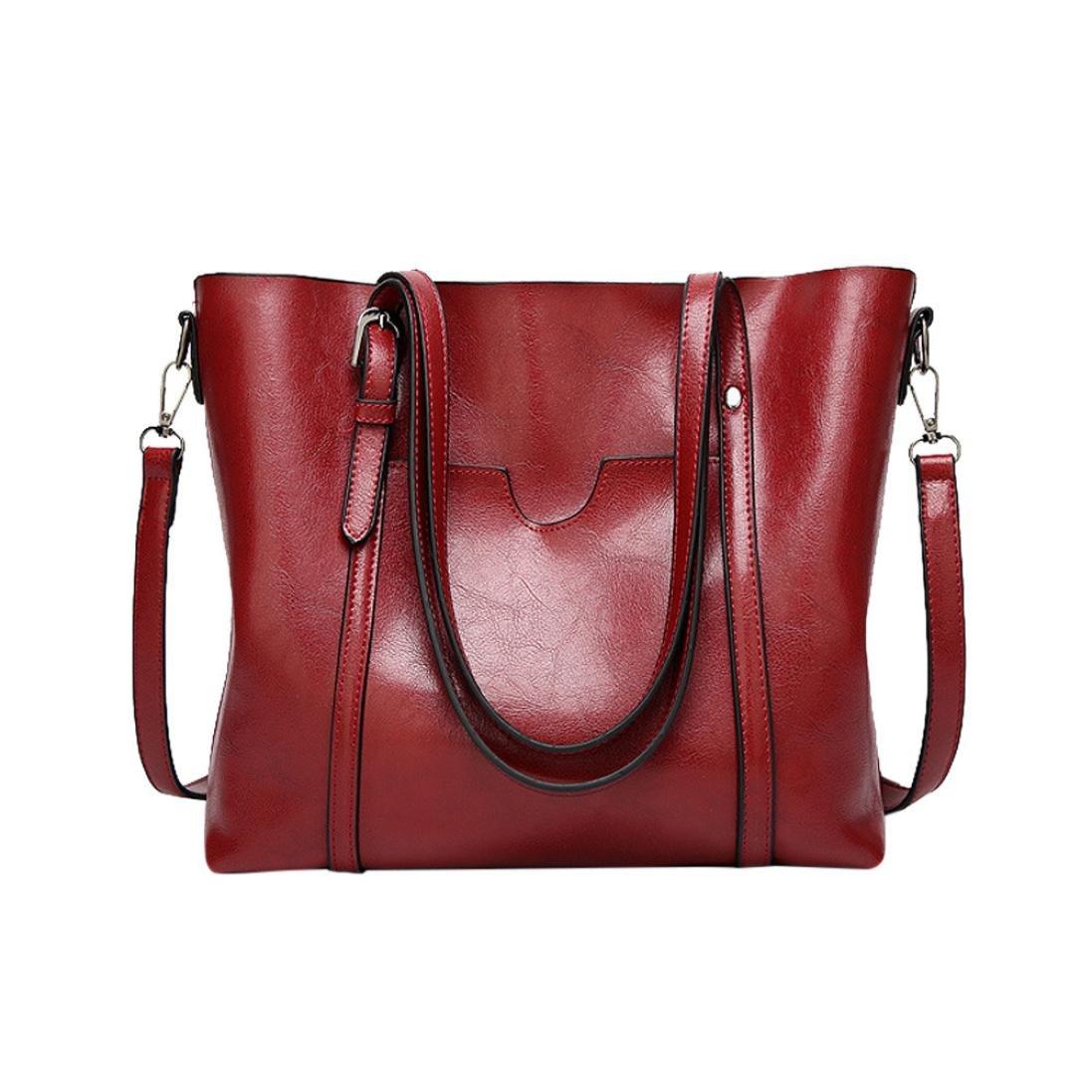 BCDshop Fashion Tote Bag Women Handbag Purses Ladies Vintage Work Travel Shoulder Bags,Large (Red)