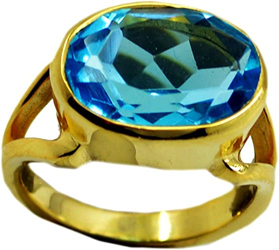 Blue Topaz Cubic Zircon Gold Plated Ring For Women Birthstone Round Shape Fashion Size 5,6,7,8,9,10,11,12