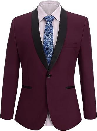 Fisoul - Blazer - para Hombre Burgundy (Solid Color) Large: Amazon ...
