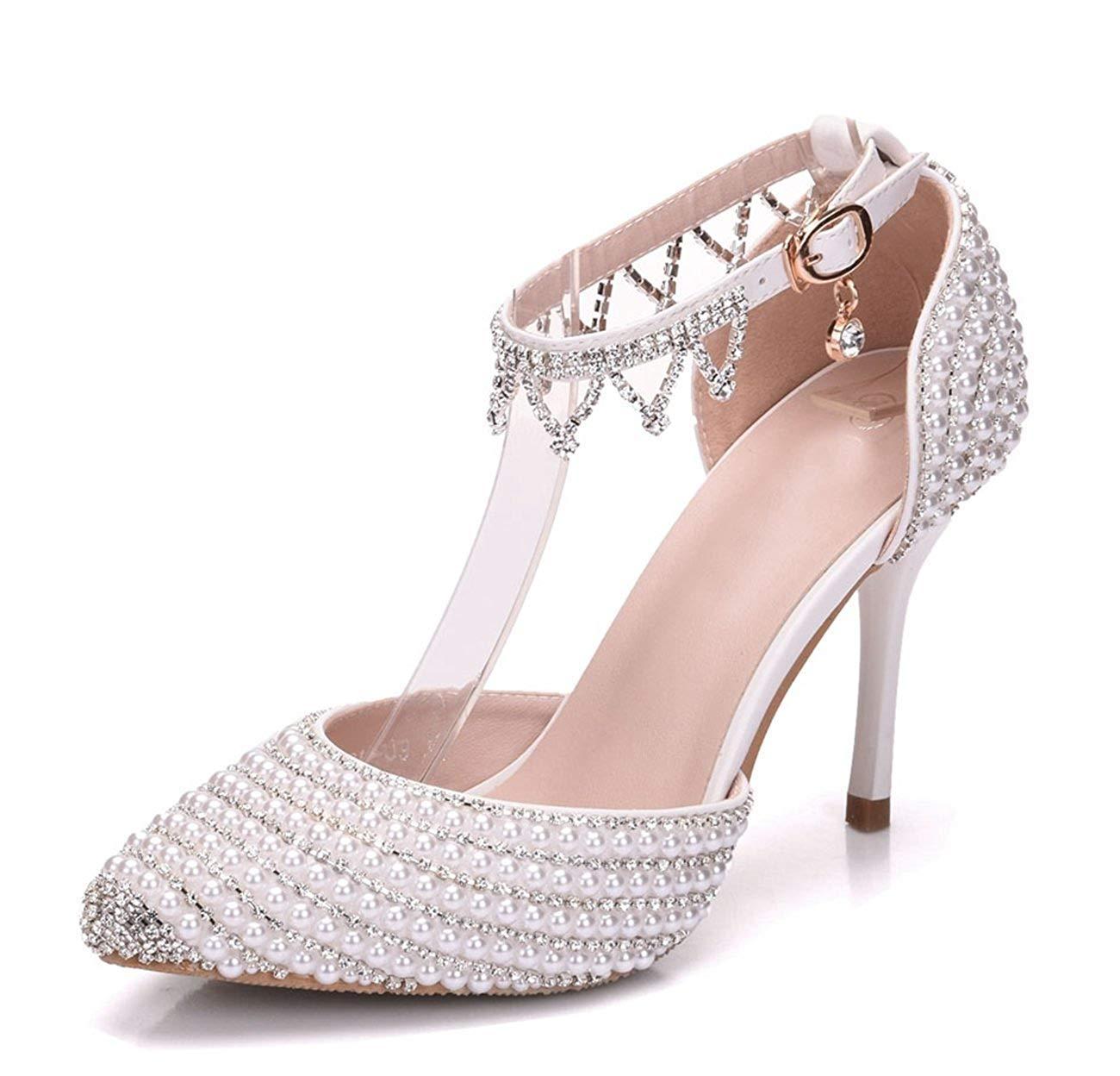 Qiusa Ladies Beading Knöchel Ketten Elfenbein Braut Hochzeit Hostess Pumps Schuhe UK 6 (Farbe   -, Größe   -)