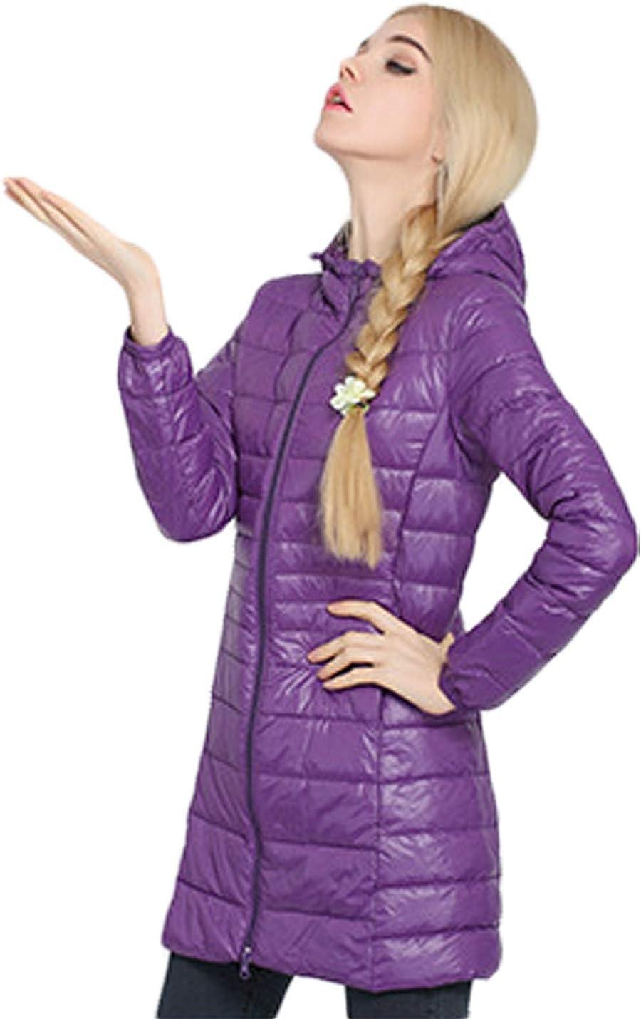 Liengoron Womens Casual Long Sleeve Zip Closure Hooded Warm Outdoor Down Jacket