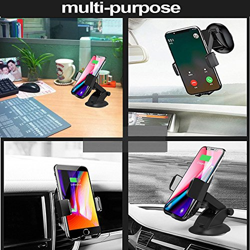 Wireless Car Charger, 2 in 1 10W Fast Wireless Charger Air Vent & Bracket Phone Holder for iPhoneX/8/8 Plus, Samsung Galaxy S9/S9+/Note 8/S8/S8 Plus/S7/S6 Edge All Qi Enabled. by DRTJ (Image #6)