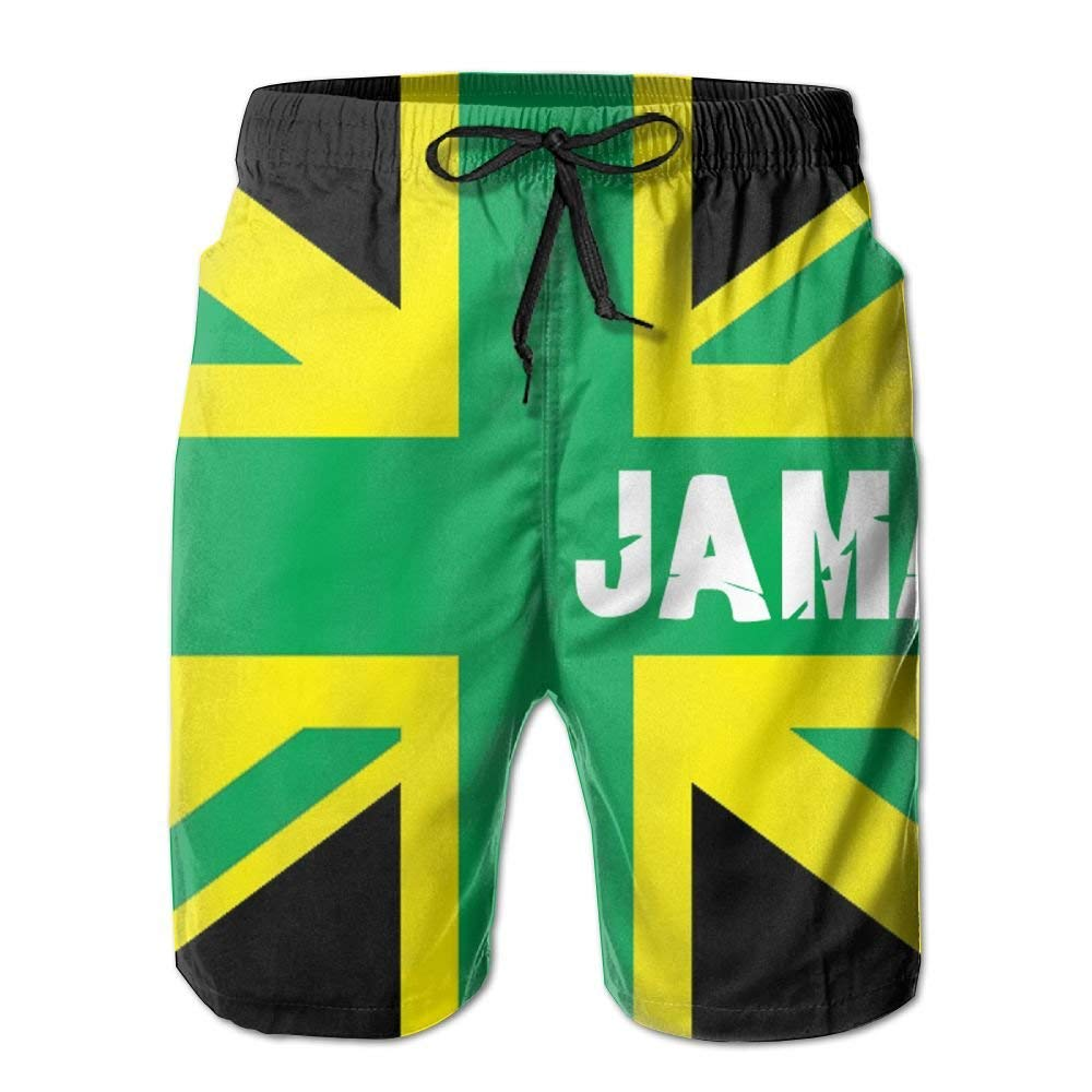 Mens Jamaican Kingdom Flag Summer Beach Board Shorts Drawstring Lightweight Sand Beach Trousers