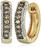 18k Yellow Gold over Sterling Silver Champagne and White Diamond Hoop Earrings (1/3 cttw)
