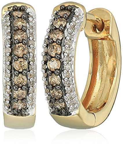 18k Gold Diamond Hoop (18k Yellow Gold over Sterling Silver Champagne and White Diamond Hoop Earrings (1/3 cttw))