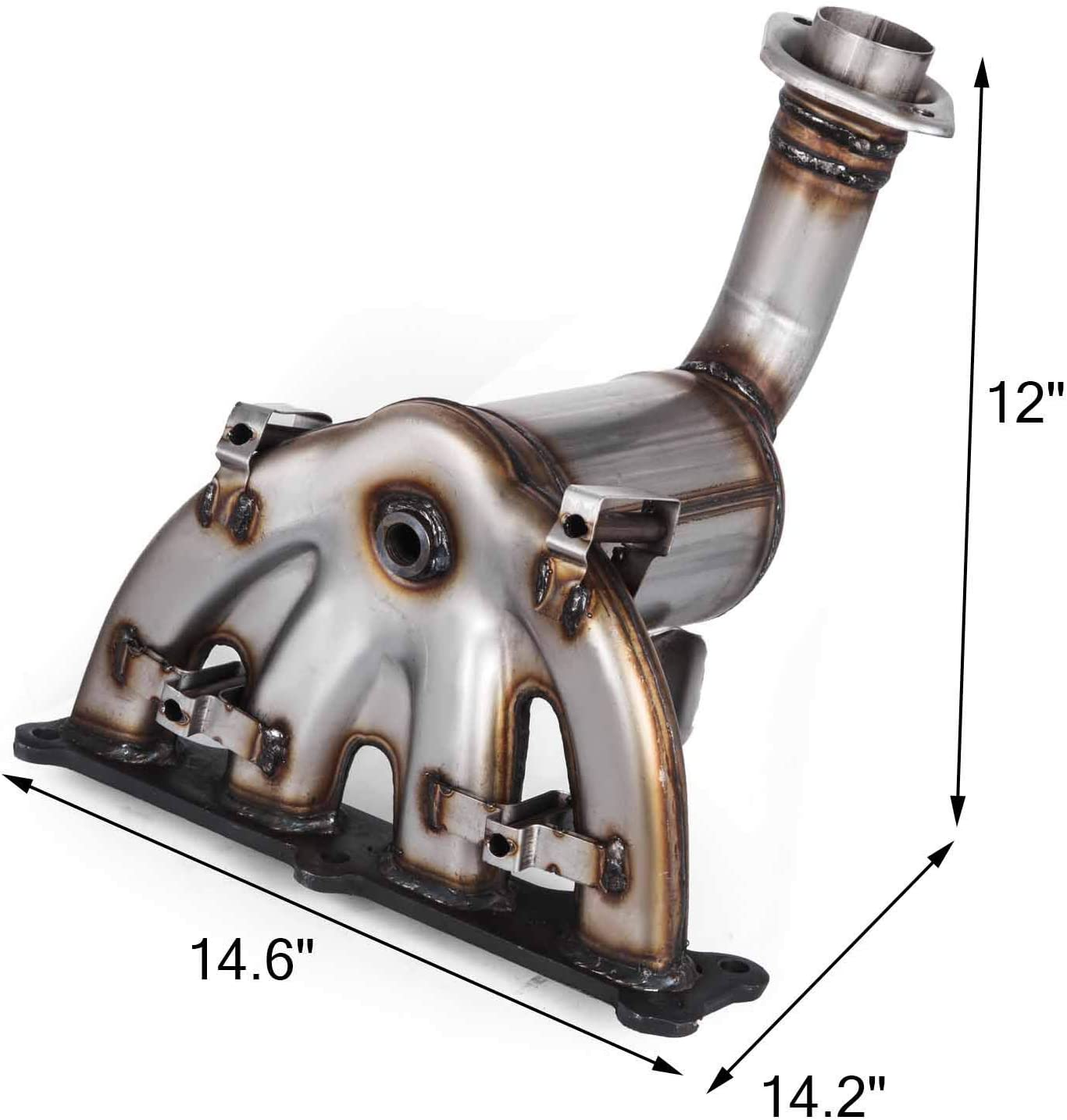 Bestauto 5105460AD 5105460AE Stainless Steel Exhaust Manifold with Catalytic Converter for 2007-2013 Dodge Caliber Compass Patriot 2.4L 327-02281 327-02282 ECO IV