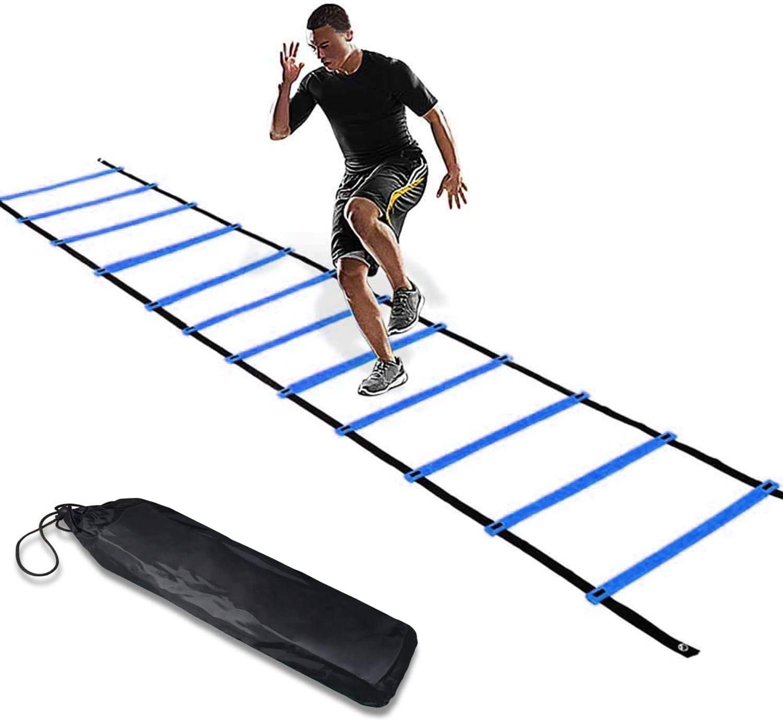 FBSPORT Escalera de Agilidad, Escalera de Coordinación,Escalera de Fútbol, Entrenamiento de Fútbol para Niños,Adultos,Entrenamiento de Velocidad de Fútbol,6 m,12 Peldaños,Ajustable,Azul: Amazon.es: Deportes y aire libre