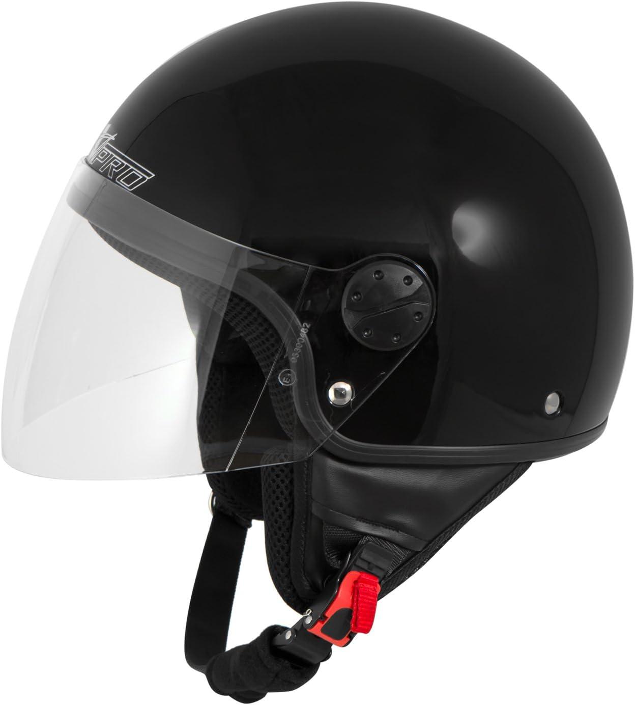 Casque Moto Scooter Vespa Jet Visiere Longue Approuv/é ECE 22 Noir Mat XS
