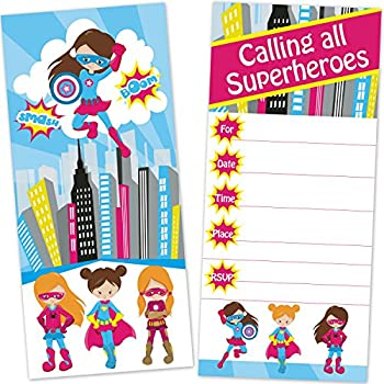 Amazoncom Girls Superhero Birthday Party Invitations for Kids 12