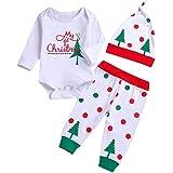 Fossen My First Christmas Disfraz Navidad Bebe niño niña Ropa de Conjunto Monos + Pantalones + Sombrero