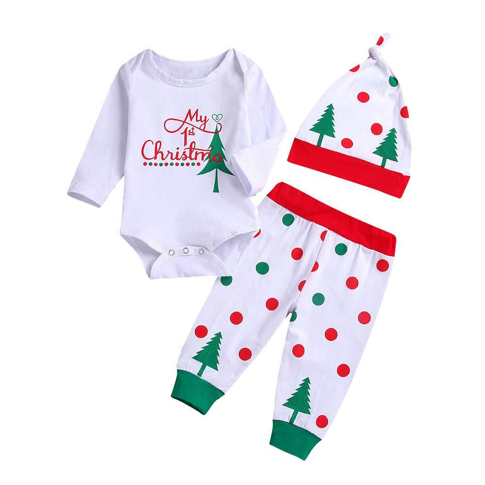 Onefa Infant Baby Outfit Letter Print Jumpsuit Romper+Christmas Tree Print Pants+Hat