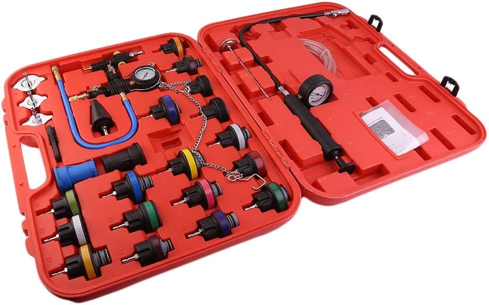 Vacuum Type Coolant System Pressure Leak Tester Kit w//Red Carrying Case 28 PCS A ABIGAIL Universal Radiator Pressure Tester for Vehicles